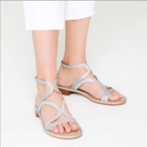 Zara Women's Silver Asymmetric Gladiator Sandals